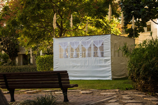 Jewish Holiday Sukkot . A sukkah is a temporary hut constructed for use during the week-long Jewish festival of Sukkot. Static shooting