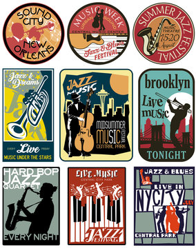 Editable vector label of jazz and blues music for poster, shirt, sticker, flyer and others