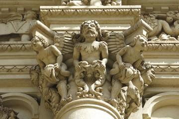 Detail from the Baroque Basilica di Santa Croce in Lecce, Italy