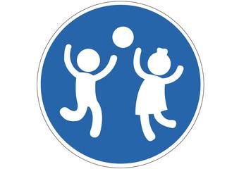 Schild Spielende Kinder erlaubt