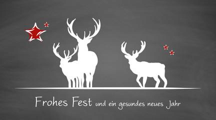 Weihnachtskarte | Hirsche auf Schiefertafel