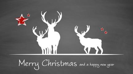 Weihnachtskarte | Merry Christmas | Hirsche auf Schiefertafel