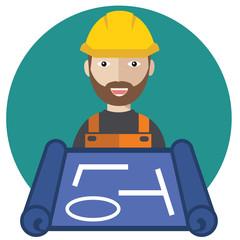 Engineer worker with blueprint vector flat design