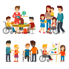 Disability person vector flat illustration. Young disabled people and friends help them,  special needs children with friends, handicapped children isolated on white background, kids with prosthesis.