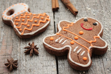 Christmas gingerbread cinnamon, Christmas decorations, tea, beads, Santa's sleigh. beautiful festive dessert.