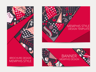 Design brochure in memphis style. Geometric memphis pattern banner and flyer. Brochure design template. Vector illustration.