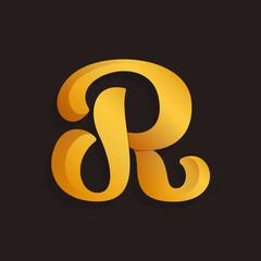 R letter logo in golden shining style.