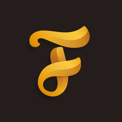 F letter logo in golden shining style.