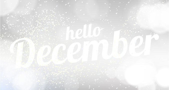 Hello December white vector card. modern soft color background
