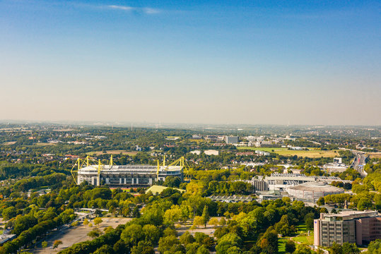 panoramic view of downtown dortmund and stadium, germany