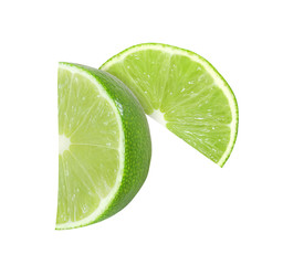 lime fruit slices isolated on white background with clipping path