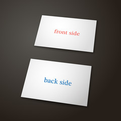 Vector illustration. Business card template in white color on a black background. Two side. The view from the top. Blank mockup for your projects