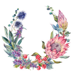 Watercolor floral wreath with protea