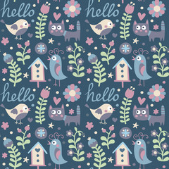 Seamless cute spring pattern made with bird, cat, birdhouse, flowers, plants, strawberry, cherry, berries, leaves, nature