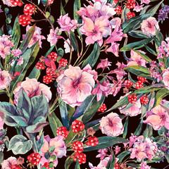 Exotic vintage floral seamless pattern