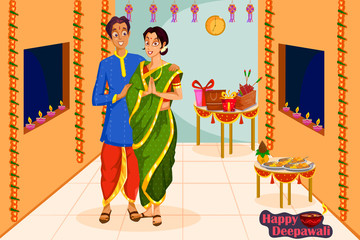 Couple wishing Happy Diwali festival of India