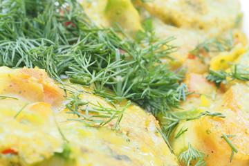 Close-up of healthy baked vegan vegetable pakoras