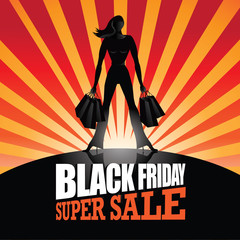 Black Friday super sale silhouette burst background. EPS 10 vector.