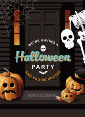 Halloween party invitation house with jack o lanterns and skeleton. illustration for advertising, marketing, poster, flyer, web page, greeting card, invitation, event, announcement, email. EPS 10