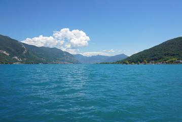 View above big beautiful lake