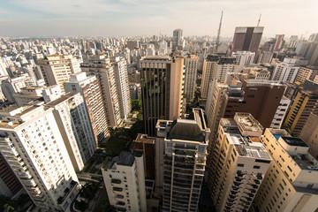 Aerial view of residential buildings in an expensive neighborhood in Sao Paulo