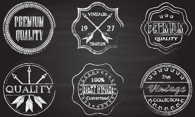 Premium quality, best price, vintage design badges and labels set isolated on blackboard texture with chalk rubbed background. Vector illustration.