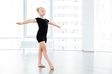 Little girl is busy performing ballet exercises