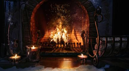 Magic Christmas fireplace. Magical background. Fotoväggar