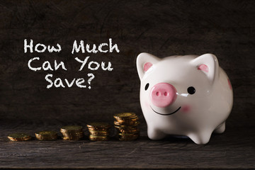 """How much can you save?"" words with Piggy bank and stack of golden money increased with wooden background - saving, finance and business concept"