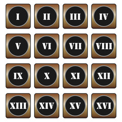 Roman numerals buttons - set of vector icons