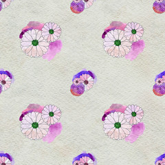 Seamless floral pattern with asters and daisy flowers