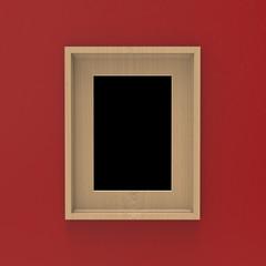blank wooden frame on red wall . 3d illustration mockup design