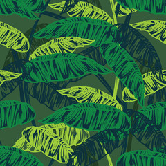 Tropical leaves, dense jungle. Seamless, hand painted.