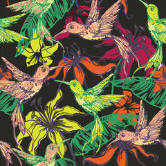 Hand drawn tropical background with colibri and flowers.