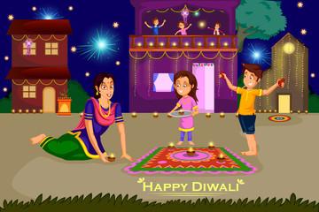 Woman making rangoli for Diwali celebration festival of India