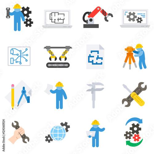 Engineering Icons Set Engineer Job Flat Design Symbols