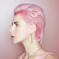 Fashionable hair girl pink vanilla color