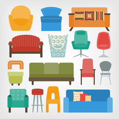 retro 70s furniture set. armchairs, chairs and sofas
