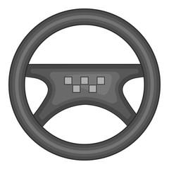 Steering wheel of taxi icon. Gray monochrome illustration of steering wheel of taxi vector icon for web