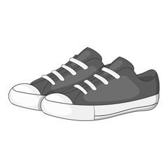 Women sneakers icon. Gray monochrome illustration of women sneakers vector icon for web