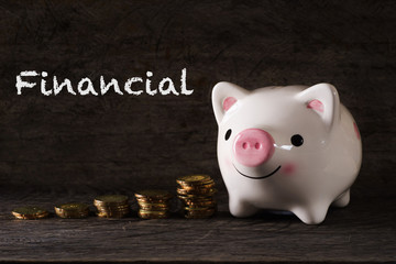 """Financial"" words with Piggy bank and stack of golden money increased with wooden background - saving, finance and business concept"