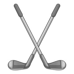 Golf clubs icon. Gray monochrome illustration of golf clubs vector icon for web
