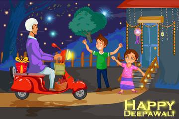 Kids enjoying firecracker celebrating Diwali festival of India