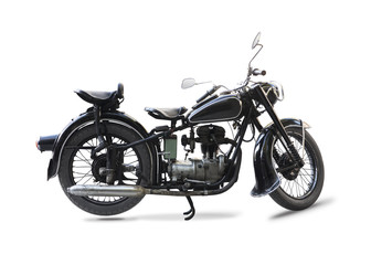 Old black motorcycle isolated on white