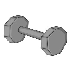 Fitness dumbbell icon. Gray monochrome illustration of fitness dumbbell vector icon for web
