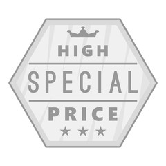Label high special price icon. Gray monochrome illustration of label high special price vector icon for web