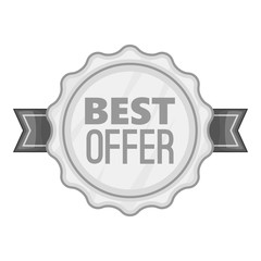 Label best offer icon. Gray monochrome illustration of label best offer vector icon for web