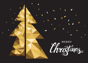 Golden Christmas tree and lettering on black background.