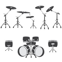 Black and white Drum set, vector