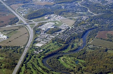 aerial view of neighborhoods along the Grand Riverin  Kitchener Waterloo, Ontario Canada